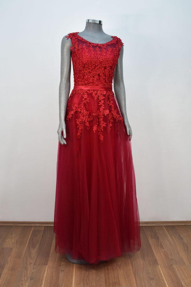 Renta de vestido de fiesta Largo Mod. VL4761 color rojo