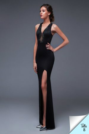 Vestido de fiesta largo Mod. VL4485 color negrode noche largo con abertura a media pierna mod VL4485