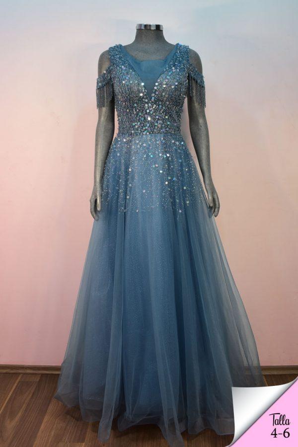 Vestido de fiesta largo Mod. VL4682 color azul cieloVestido de fiesta largo Mod. VL4682 color azul cielo