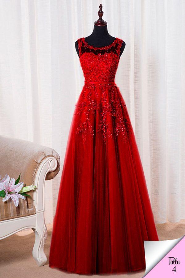 Vestido de fiesta largo Mod. VL4761 color rojo