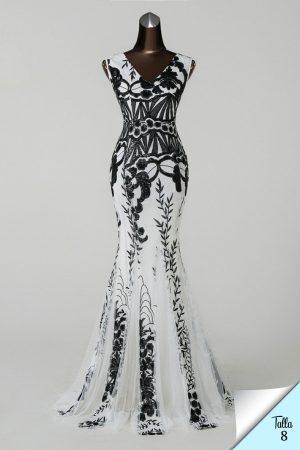 Vestido de fiesta largo Mod. VL4816 color blanco negro