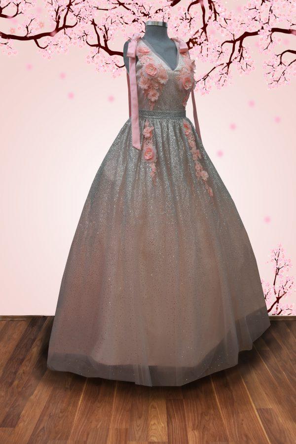 Renta de vestido de quinceañera Largo Mod. VL16533 color rosa silver.
