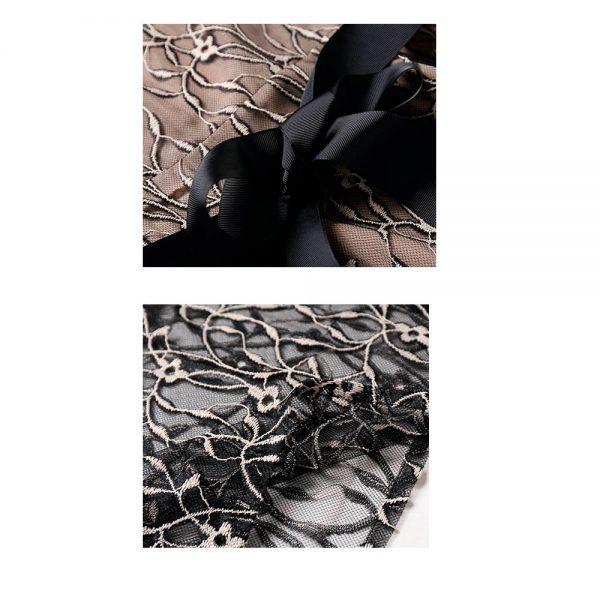 Vestido de fiesta corto Mod. VC1893 color nude negro