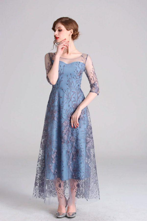 Vestido de fiesta largo Mod. VL2515 color azul