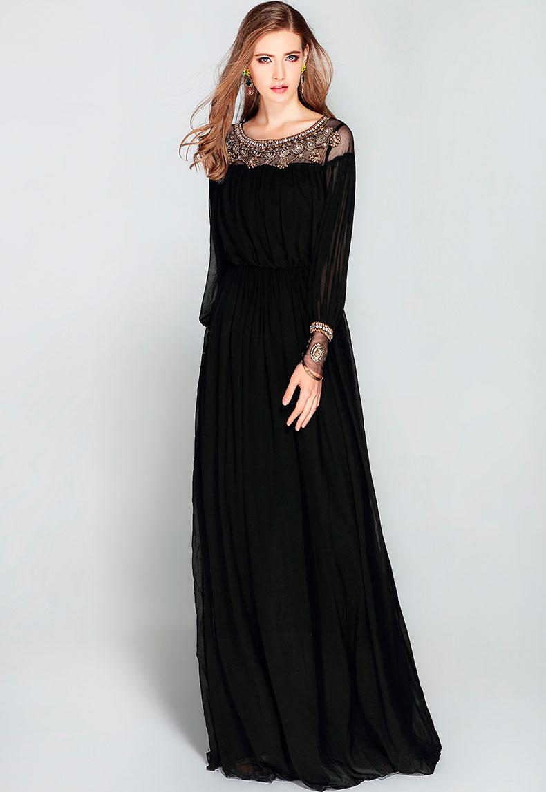 Vestido de fiesta largo Mod. VL4521 color negro