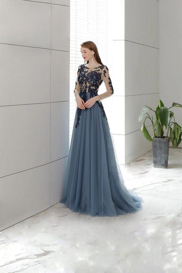 Vestido de fiesta largo Mod. VL9075 color azul