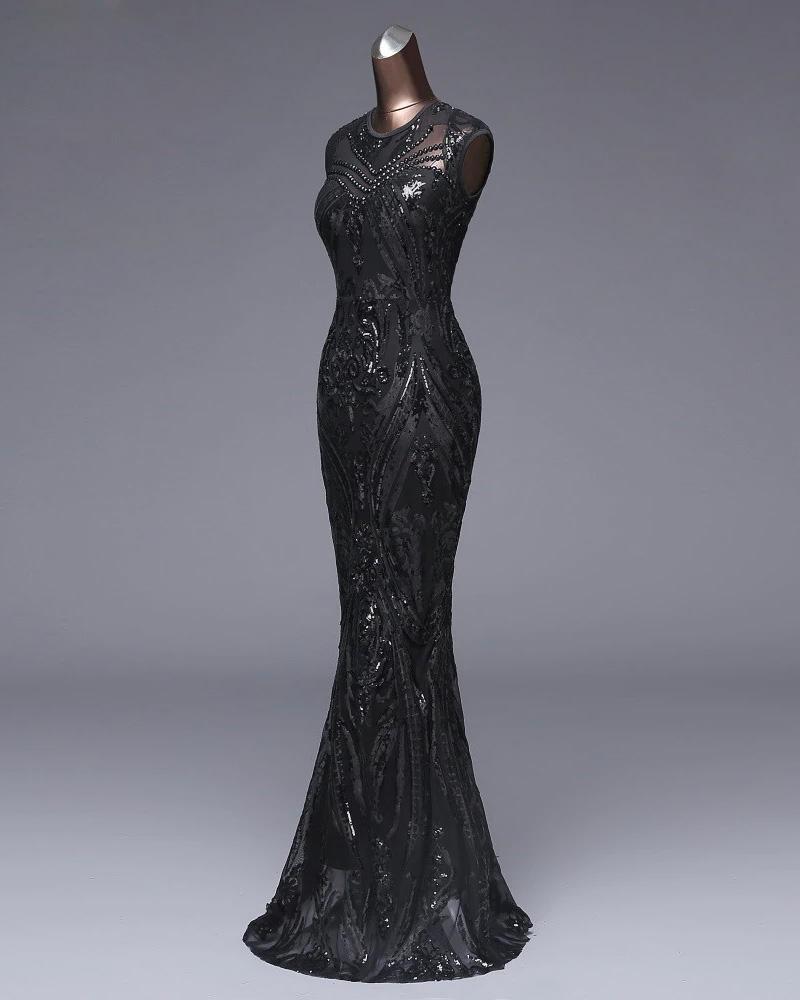Vestido de fiesta largo Mod. VL4752 color negro