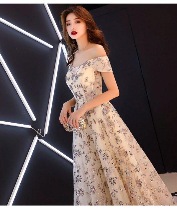 Vestido de fiesta largo Mod. VL6149 color beige