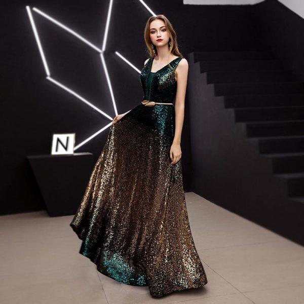 Vestido de fiesta largo Mod. VL4646 color verde dorado