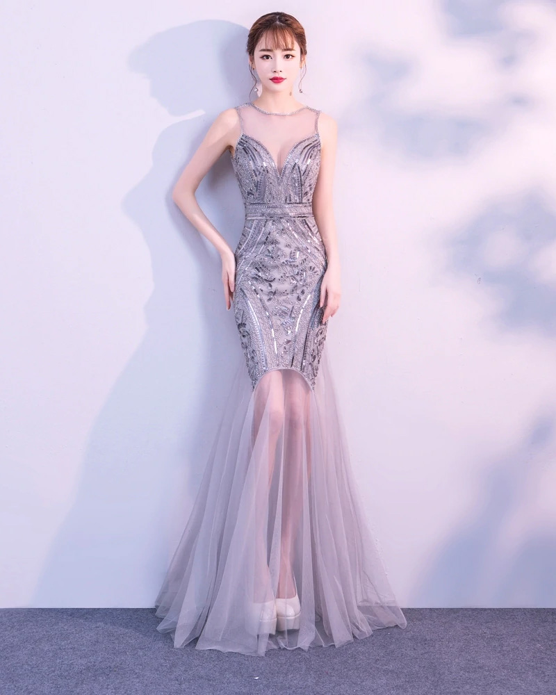 Vestido de fiesta largo Mod. VL3000 color gris