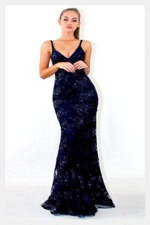 Vestido de fiesta largo Mod. VL2478 color marino