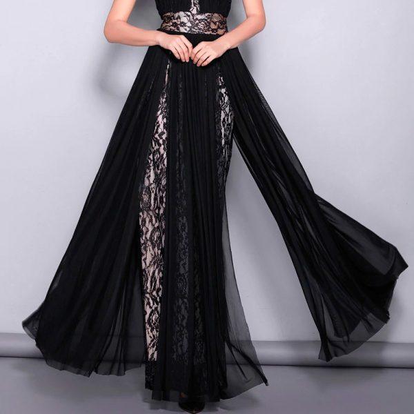 Vestido de fiesta largo Mod. VL5951 color negro nude