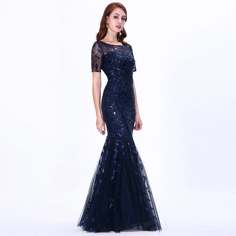 Vestido de fiesta largo Mod. VL26132 color marino