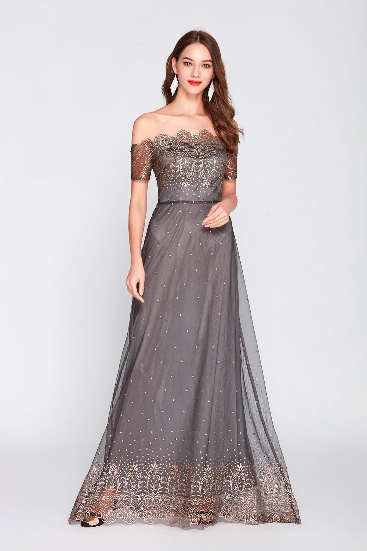 Vestido de fiesta largo Mod. VL4594 color gris oro