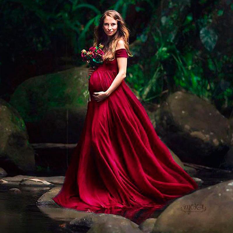 Vestido de sesión de fotos de maternidad Mod. VM2570 color rojo