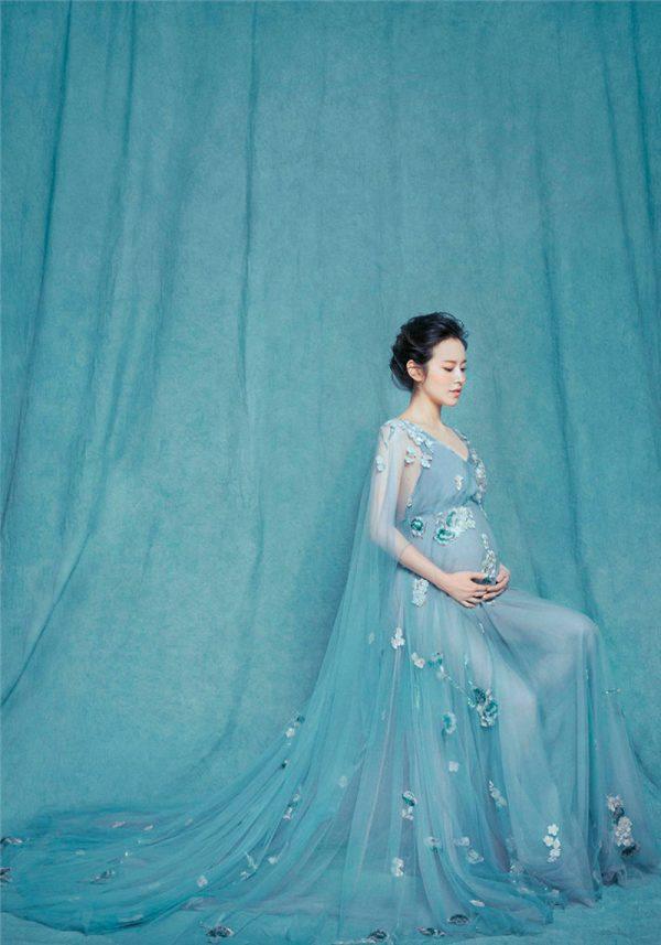 Vestido de sesión de fotos de maternidad Mod. VM4112 color azul cielo