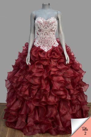 Renta de vestido de XV años Largo Mod. VQ17500 color vino.