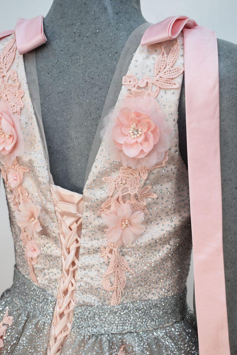 Vestido de fiesta largo Mod. VL16533 color rosa gris