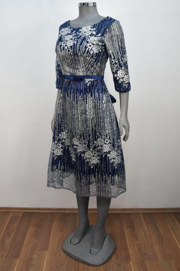 Vestido de fiesta corto Mod. VC4125 color marino plata