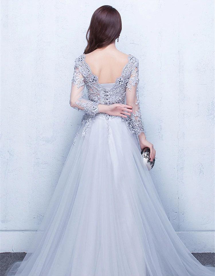 Vestido de fiesta largo Mod. VL5875 color gris claro