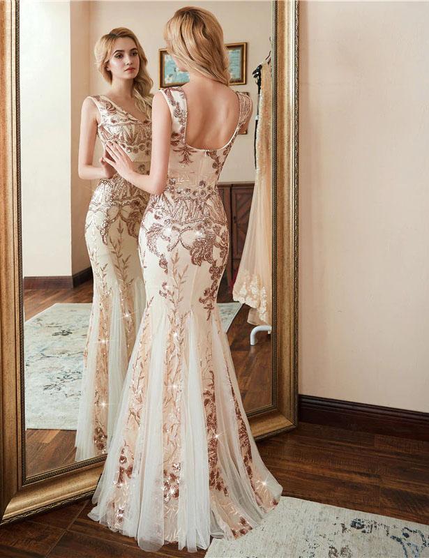 Vestido de fiesta largo Mod. VL4480 color champange