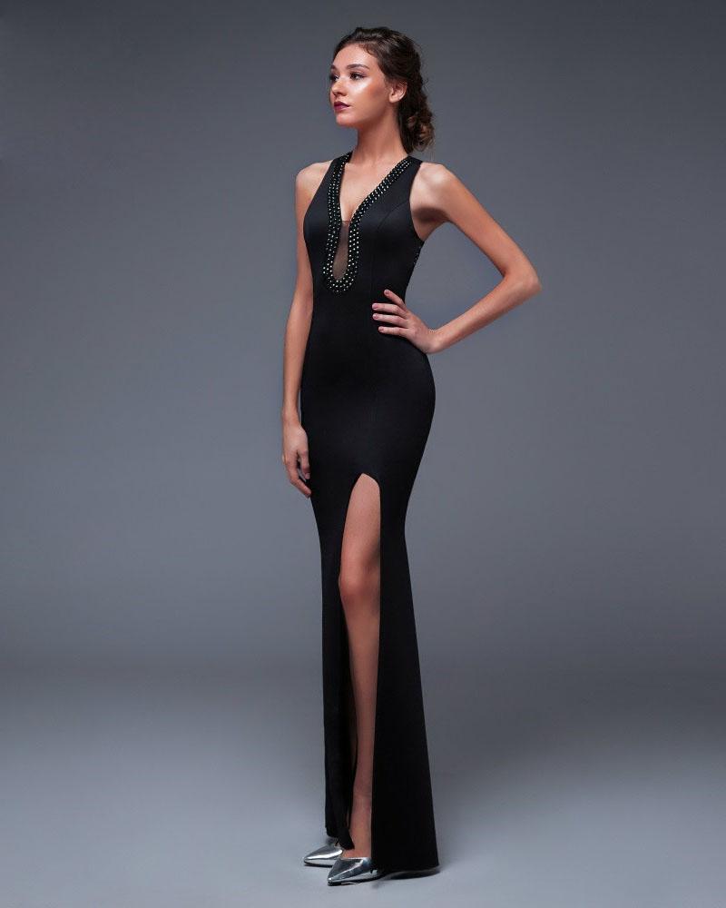 Vestido de fiesta largo Mod. VL4485 color negro