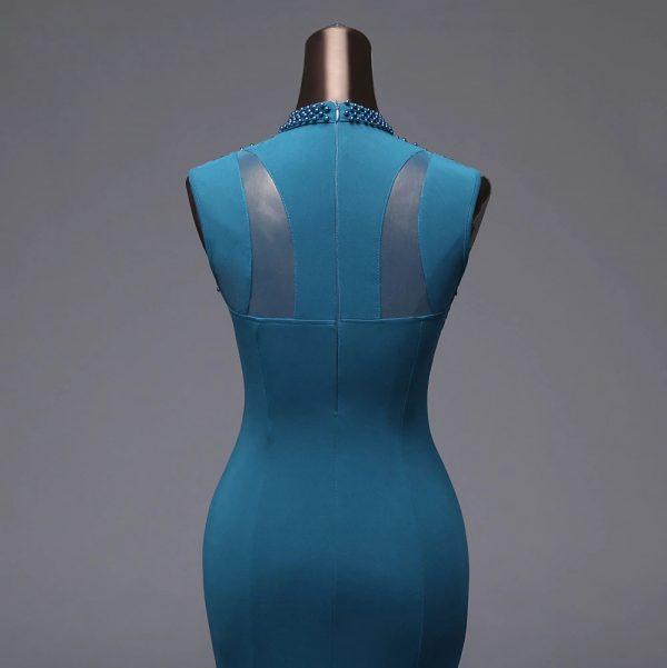 Vestido de fiesta largo Mod. VL4320 color azul oceno