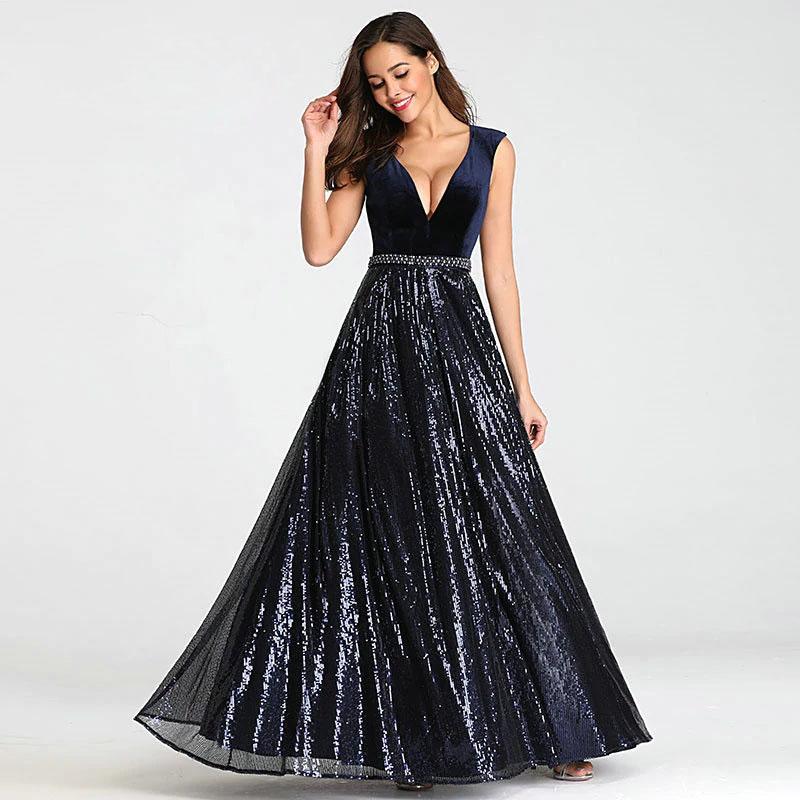 Vestido de fiesta largo Mod. VL2914 color marino