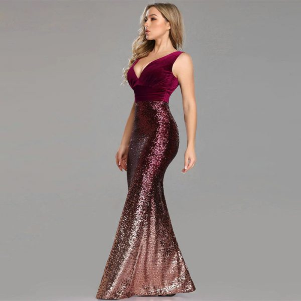 Vestido de fiesta largo Mod. VL3427 color borgona