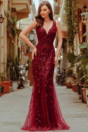 Vestido largo rojo para dama con transparencia mod VL2999