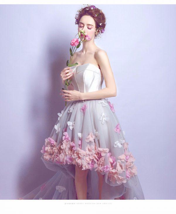 Vestido de fiesta corto Mod. VC5222 color blanco lila rosa
