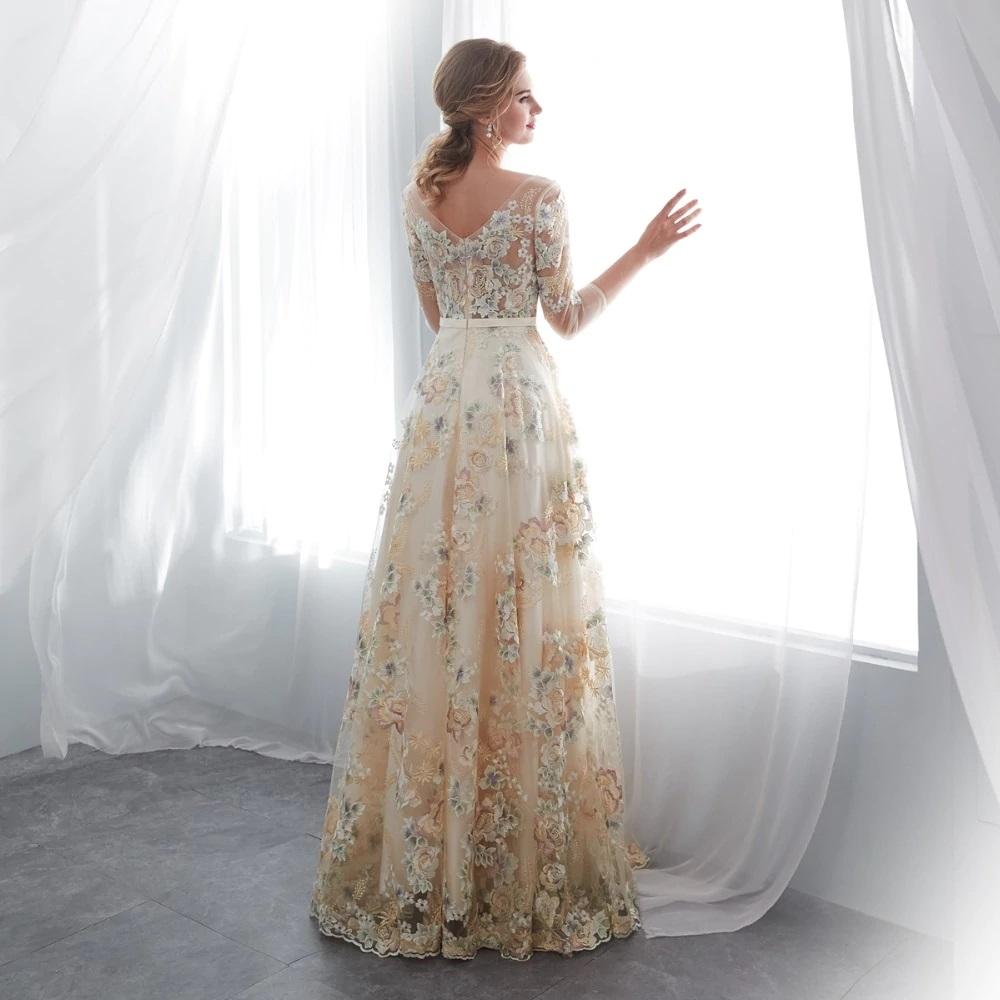 Renta de vestido de fiesta Largo Mod. VL6372 color Champange