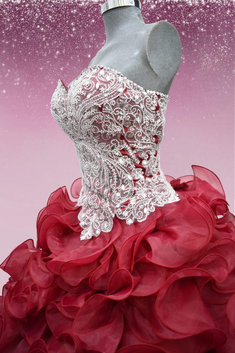 Renta de vestido de XV años Largo Mod. VQ17500 color vino