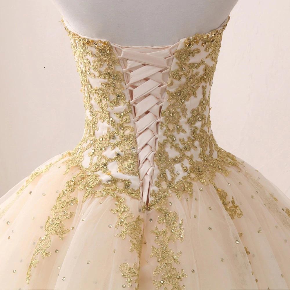 Vestido de Quince años Mod. VQ6688 color blanco oro