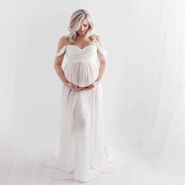 Renta de vestido de maternidad para sesión de fotos Mod. VM1805 color blanco