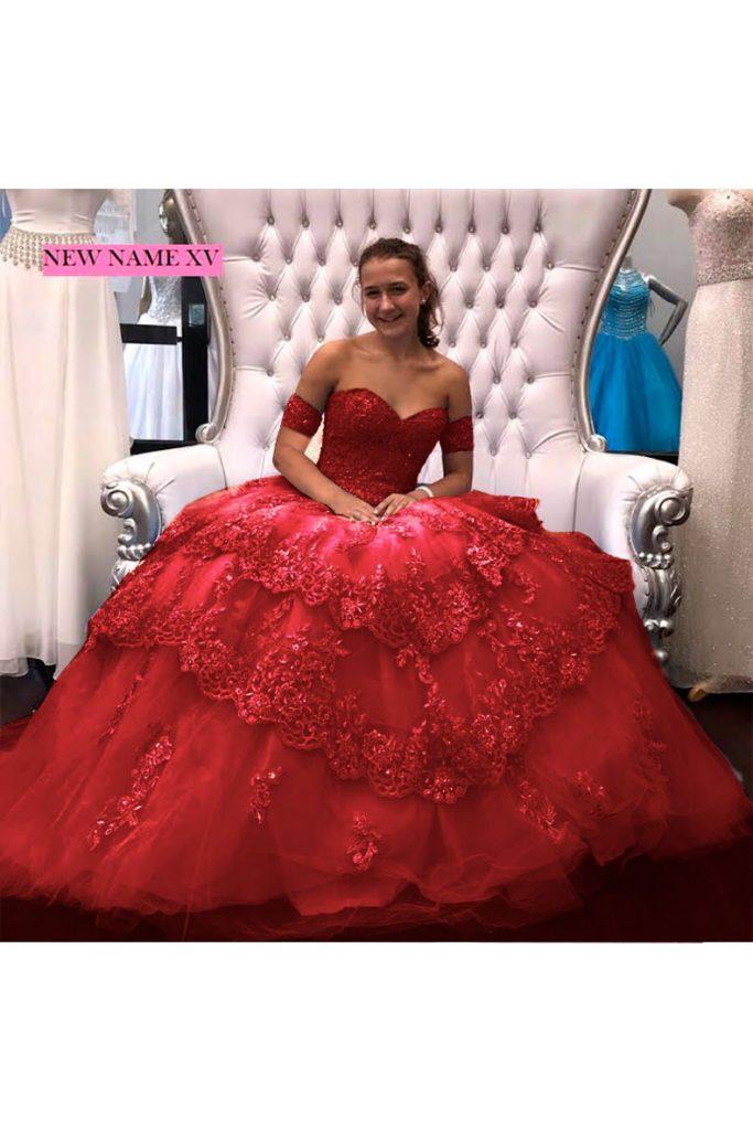 Renta de vestido de XV años Largo Mod. VQ14320 color rojo. Entrega a domicilio, servicio de costurera gratis ¡Entra ya!