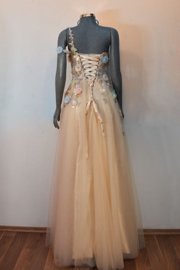 Vestido de fiesta largo Mod. VL11913 color champagne