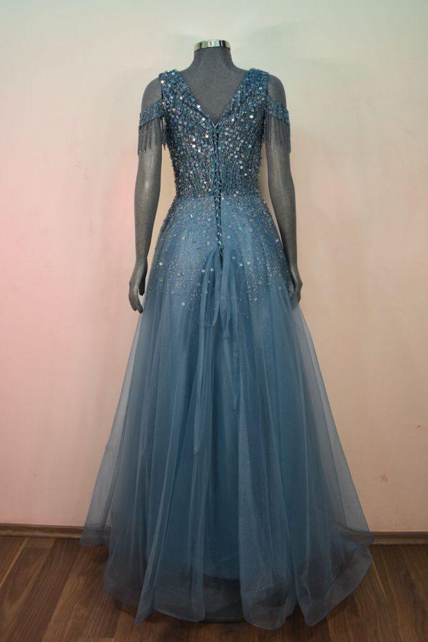 Vestido de fiesta largo Mod. VL4682 color azul cielo