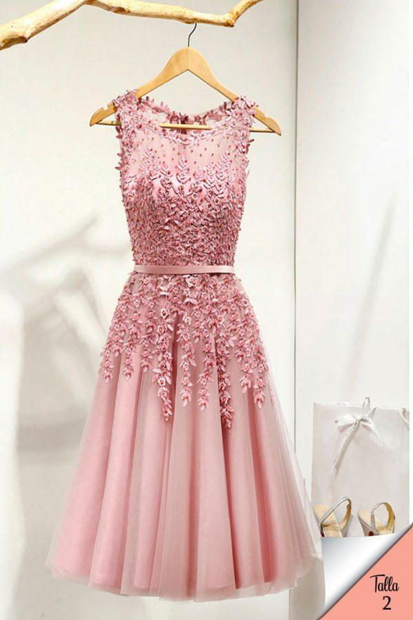 Vestido de fiesta corto Mod. VC4224 color rosa