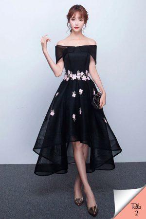 Vestido de fiesta corto Mod. VC4832 color negro
