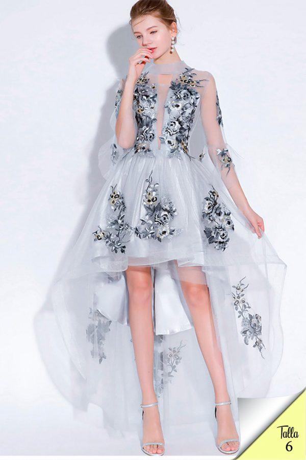 Vestido de fiesta corto Mod. VC8260 color silver