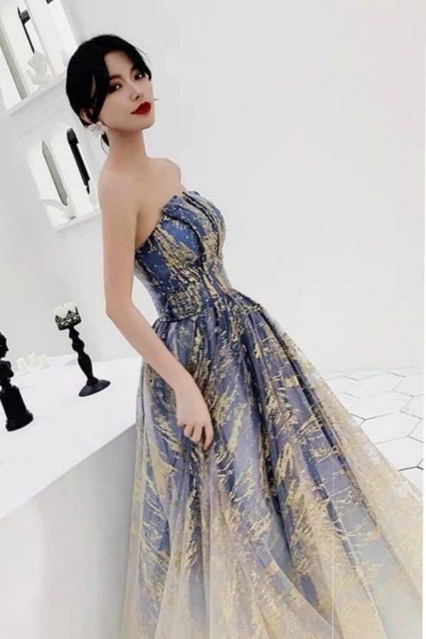 Renta de vestido de fiesta Largo Mod. VL203 color gris dorado