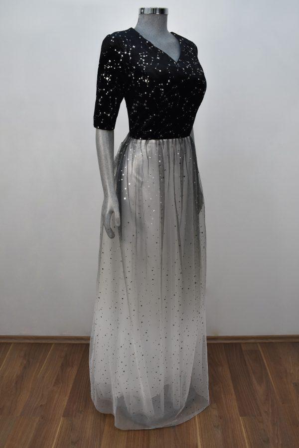 Renta de vestido de fiesta Largo Mod. VL201 color negro blanco