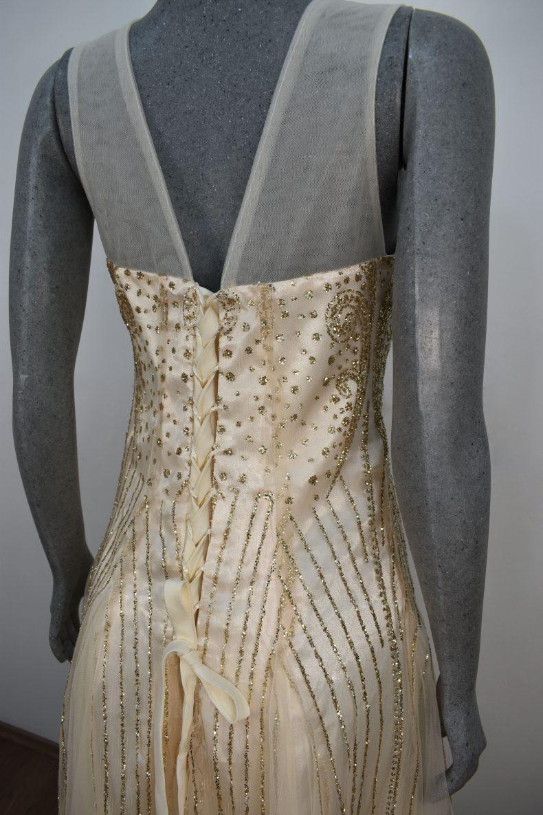 Renta de vestido de fiesta Largo Mod. VL202 color dorado