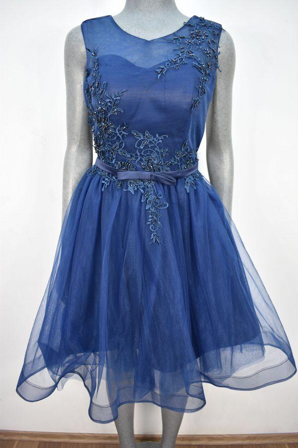 Renta de vestido de fiesta corto Mod. VC003 color azul marino