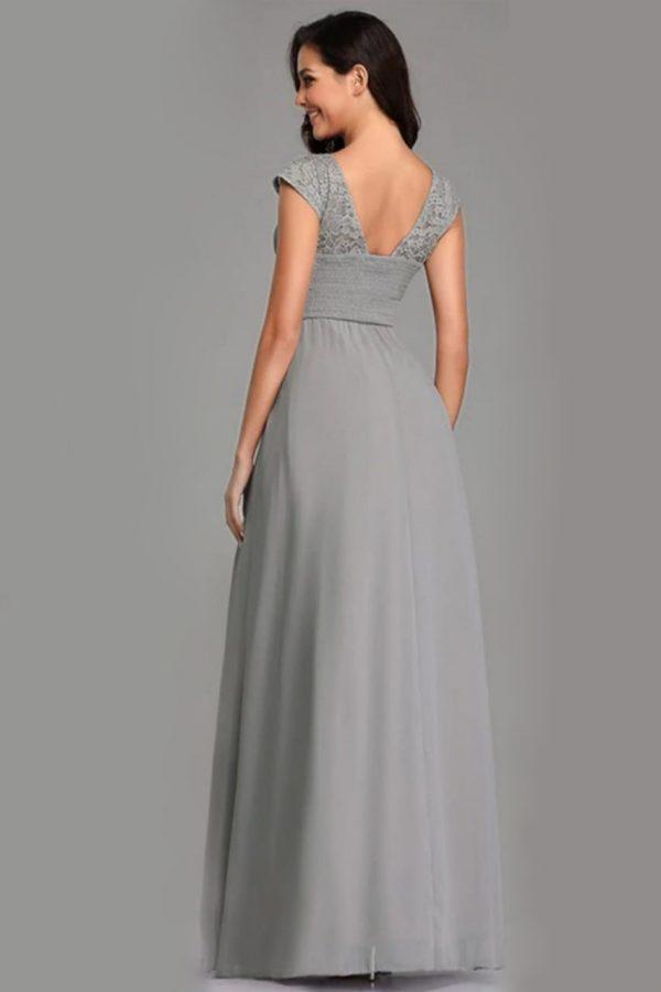 Renta de vestido de fiesta Largo Mod. VL2815 color gris.