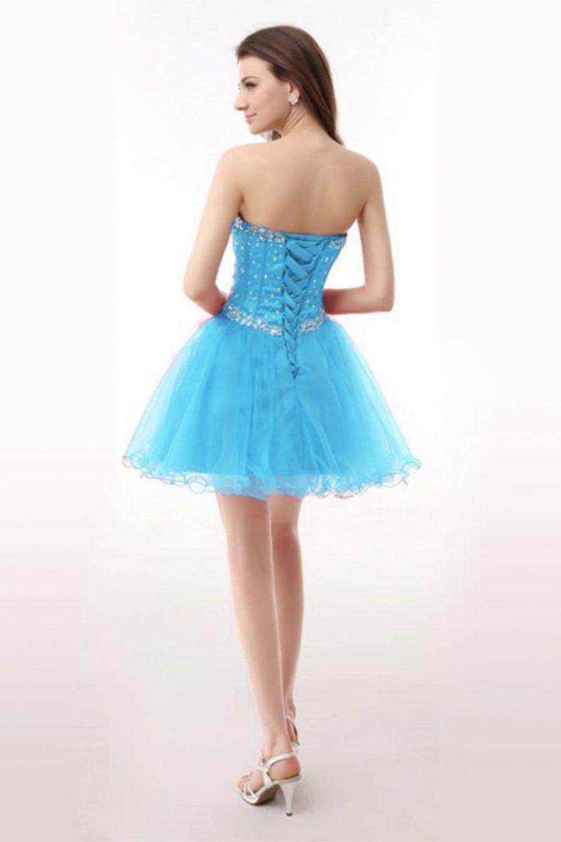 Renta de vestido de XV años Largo Mod. VQ13412 color azul zafiro