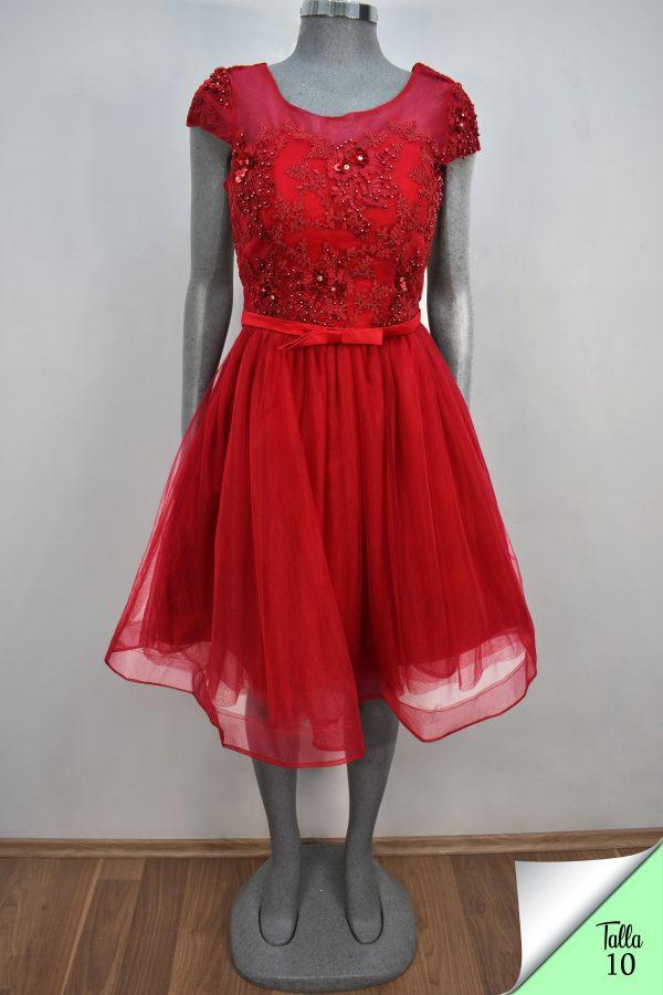 Renta de vestido de fiesta corto Mod. VC001 color rojo
