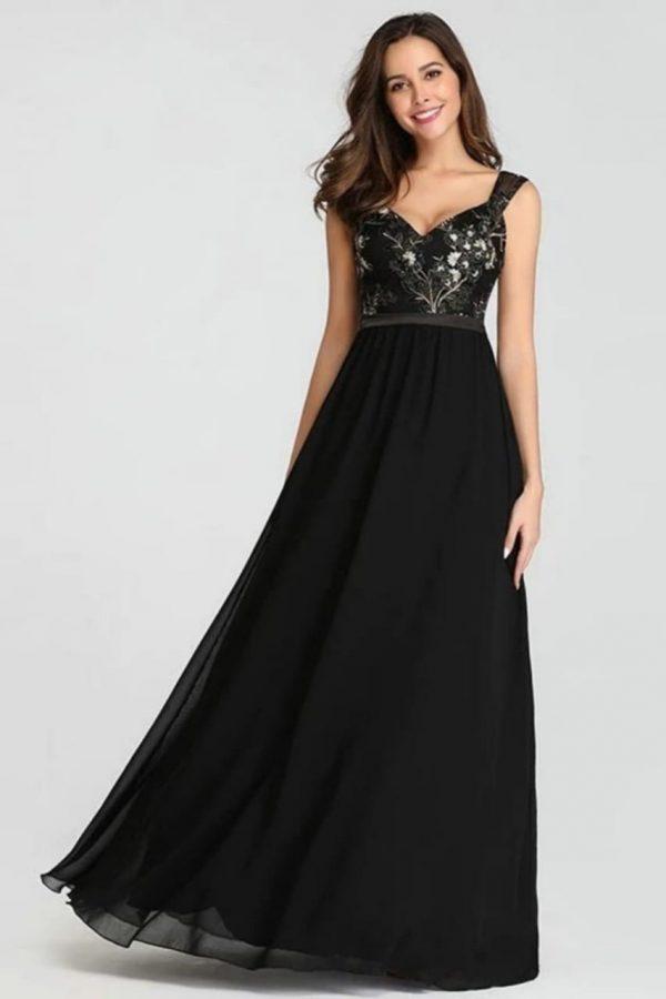 Renta de vestido de fiesta Largo Mod. VL2899 color negro