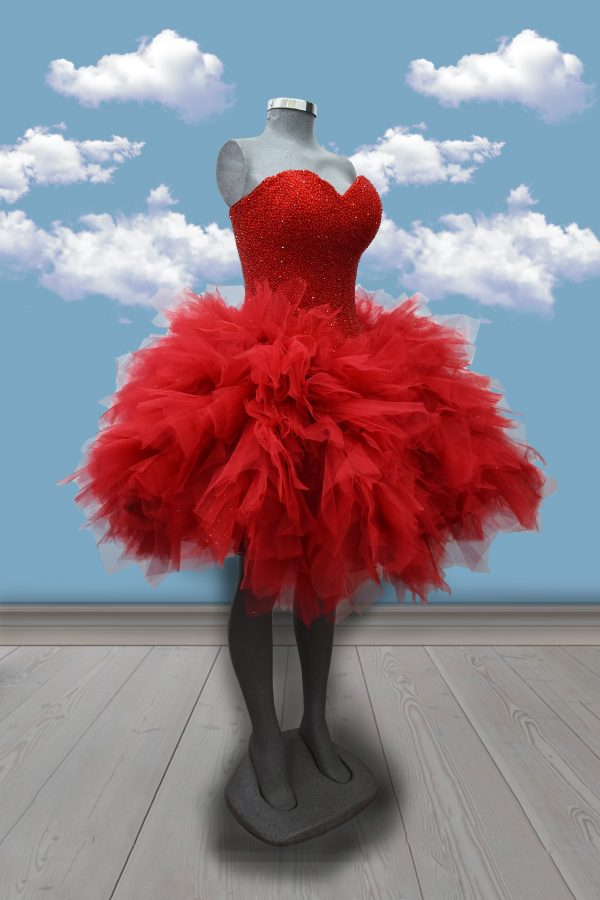 Renta de vestido de XV años Largo 4 en 1 Mod. Vestido Mod. VQ1340 color rojo con glitter